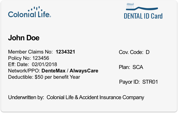 Colonial Life dental PPO card